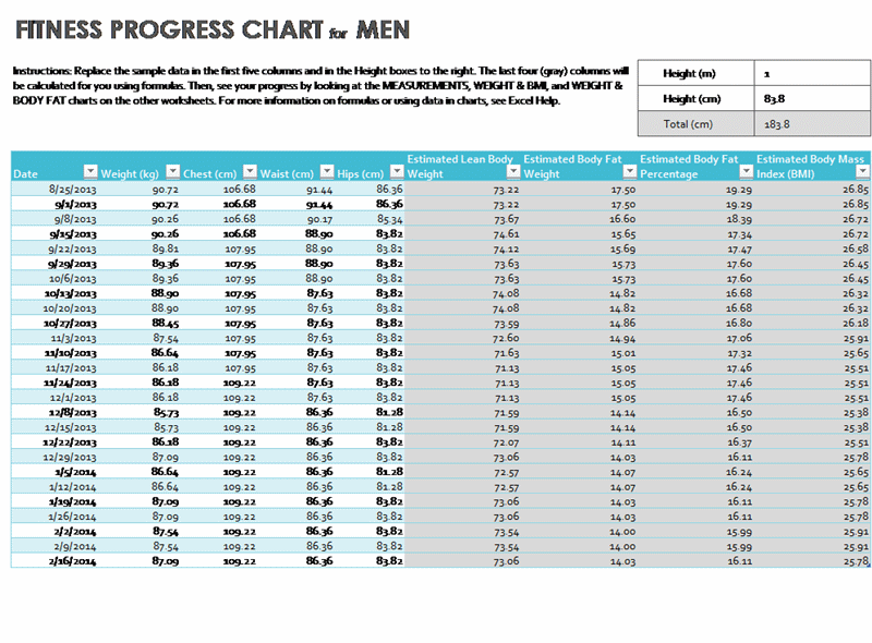 progress chart excel template - health and fitness