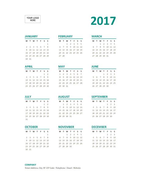 2017 year-at-a-glance calendar (Mon-Sun) - Office Templates