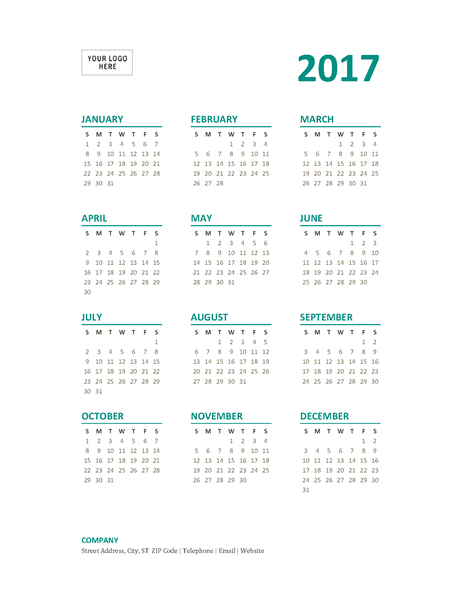 2017 year-at-a-glance calendar (Sun-Sat)
