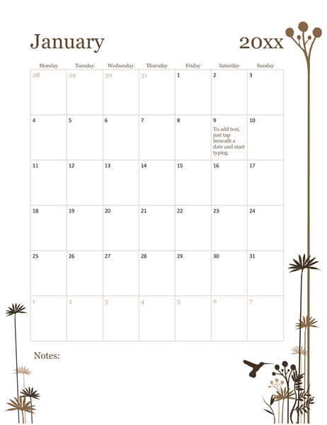 2017 monthly calendar template word