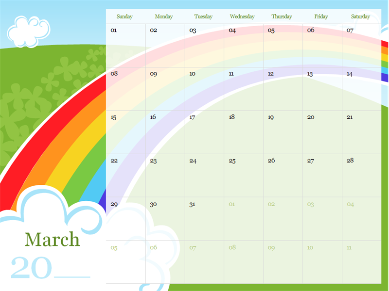 Illustrated seasonal calendar (Sun-Sat)