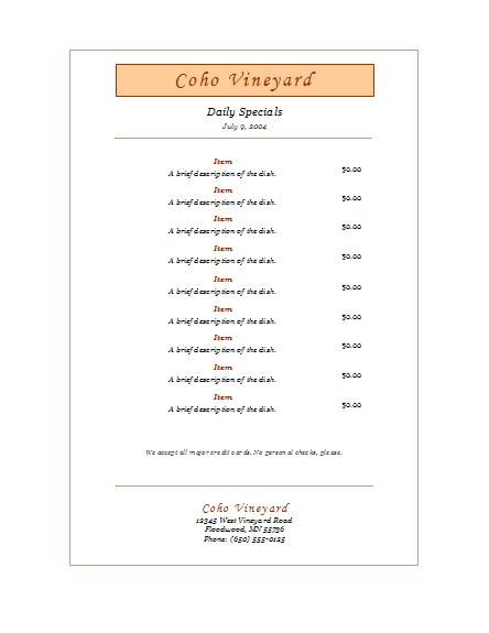 Daily specials menu