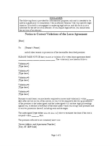 Notice to correct violations of lease agreement (online)