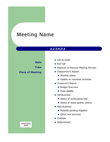 Attractive Agenda (Capsules Design) To Microsoft Word Meeting Agenda Template