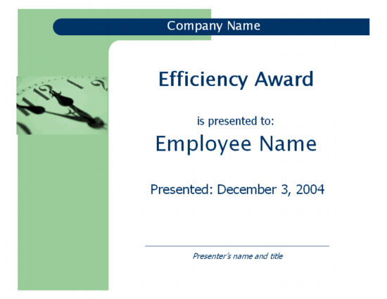 Efficiency award (Capsules design)