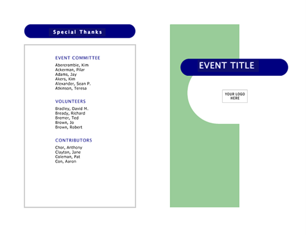 Event Program Halffold Pages Office Templates - Half fold brochure template free