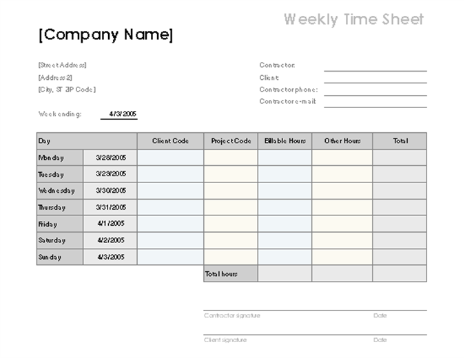 Weekly time sheet by client and project for Client sign in sheet template