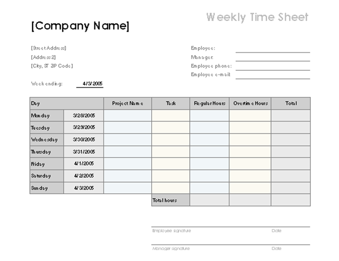 Weekly Time Sheet With Tasks And Overtime  Microsoft Word Weekly Calendar
