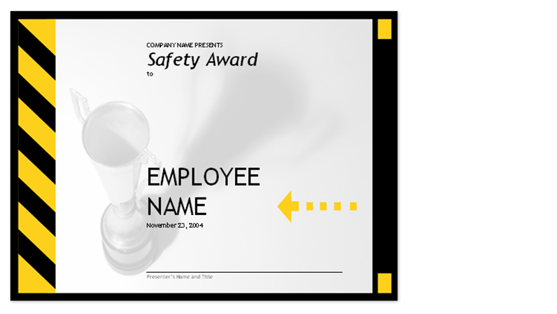 Employee Safety Award  Free Certificate Template