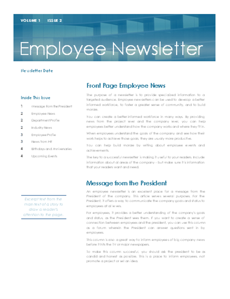 Employee newsletter for Staff newsletter template
