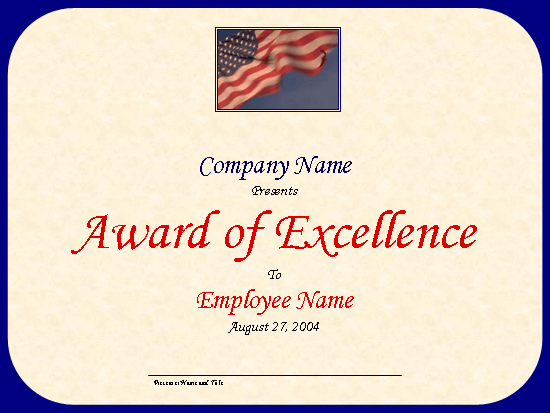 Employee excellence award (with U.S. flag)
