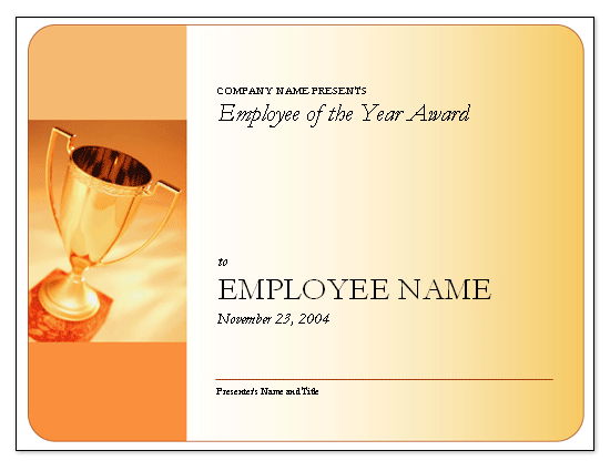 Employee of the Year award certificate