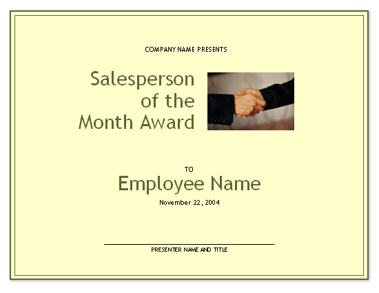 Salesperson of the Month award