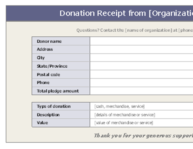 donation receipt template word