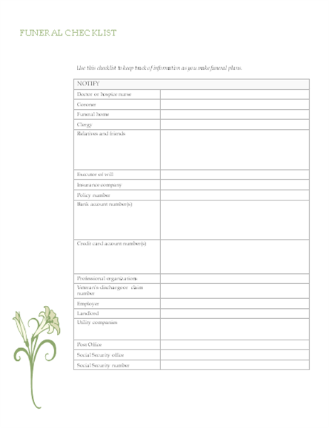 Funeral planning checklist Office Templates – Funeral Checklist Template