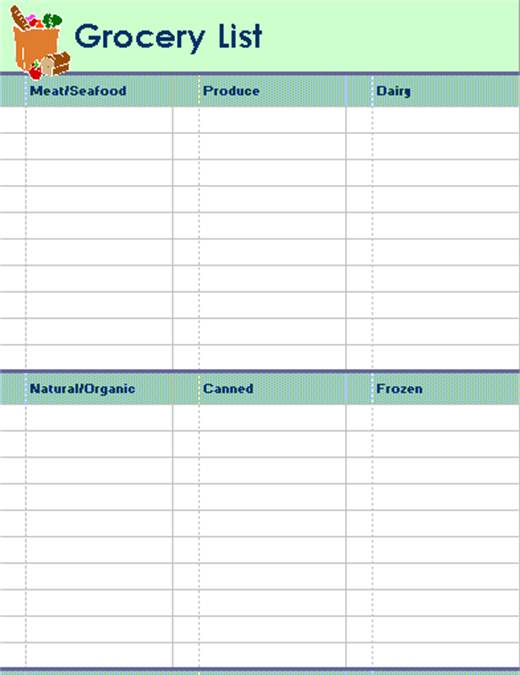 Grocery List With Categories (2 Per Page)  Grocery List Templates