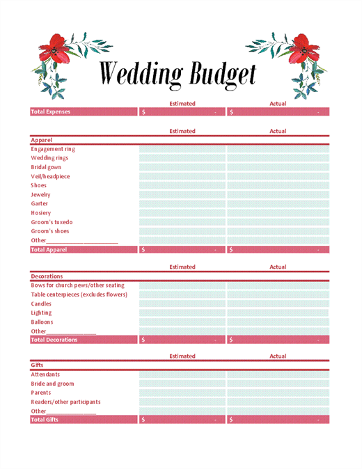 Wedding budget planner office templates wedding budget planner junglespirit Gallery