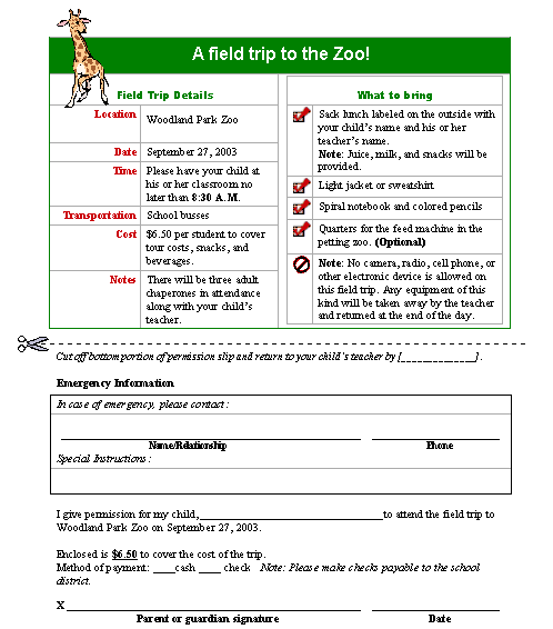 Field trip permission slip - Office Templates