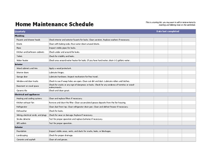 Home maintenance schedule for Maintenance schedules templates