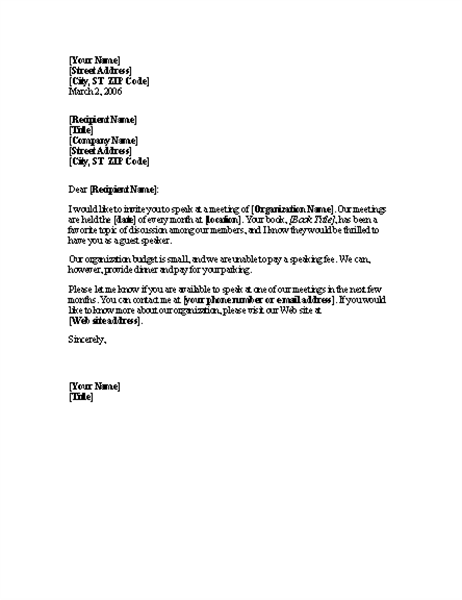 Letter requesting unpaid speaker for meeting