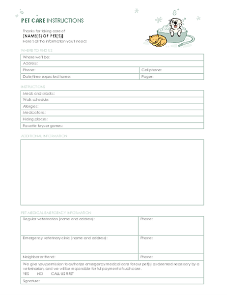 Instructions for pet sitter for Instruction sheet template word