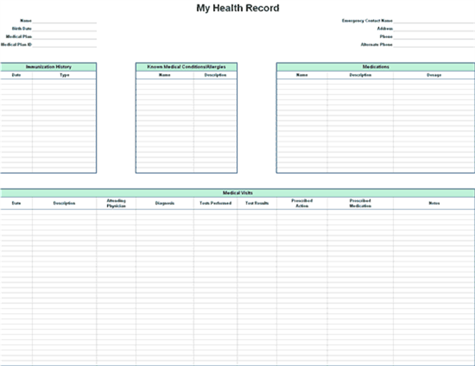personal medical records forms