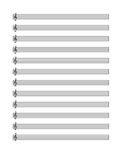 Treble cleff staff paper (12 per page)