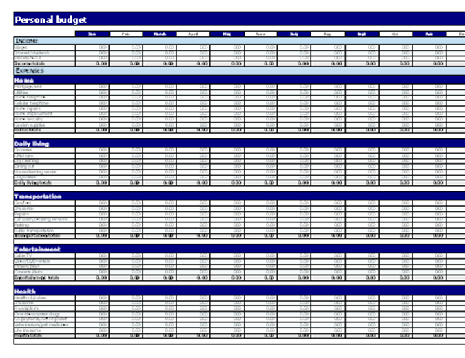 personal finance spreadsheet