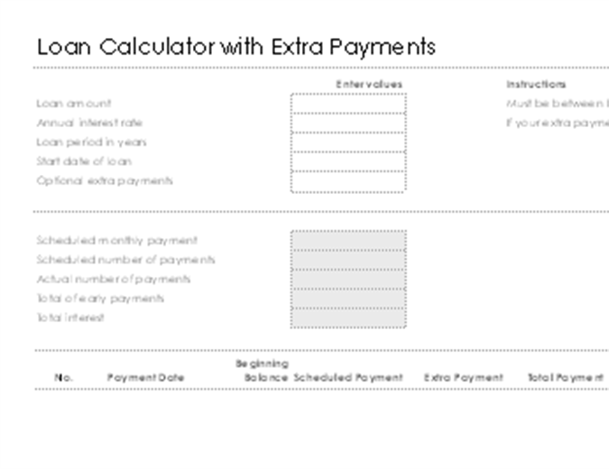 Loan Calculator With Extra Payments  Daily Calendar Template Word