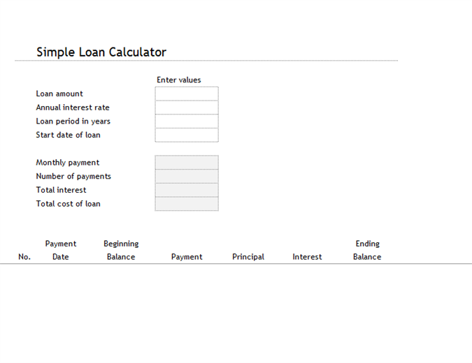 Good Loan Calculator Regard To Loan Templates