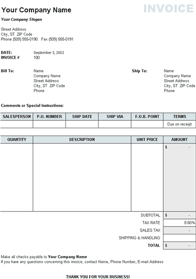 Sales invoice with tax and shipping and handling calculations – Invoice Shipping