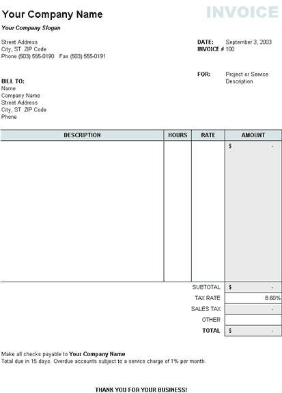 Service invoice with tax calculation
