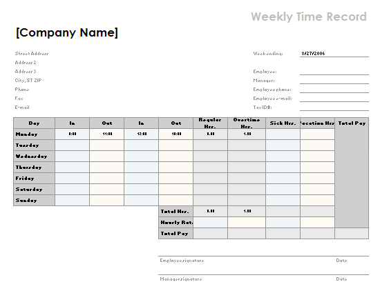 Weekly time sheet with breaks Office Templates – Weekly Sign in Sheet Template