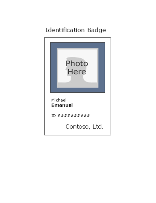 Employee Photo ID Badge Portrait - Name badge template with photo