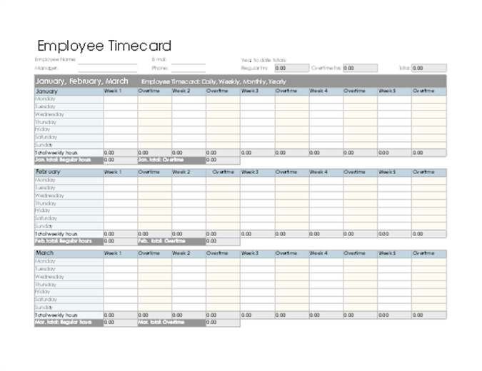 Employee Timecard Daily Weekly Monthly And Yearly - Time card template