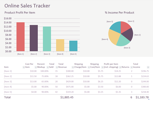 Online Sales Tracker - Office Templates