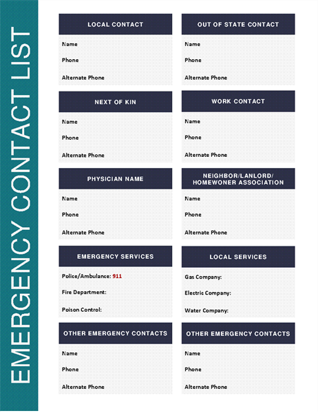 Emergency Contact List  Contact List Templates