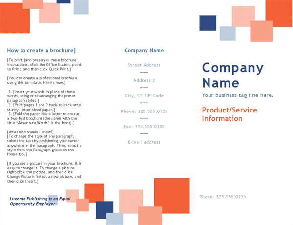 Business Brochure (tri Fold)  Booklet Template Word