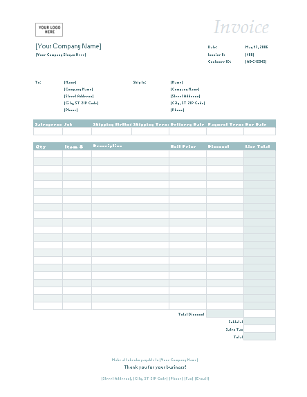 sales invoice (simple blue design) - office templates, Simple invoice