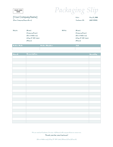 Packing slip (Simple Blue design) - Office Templates