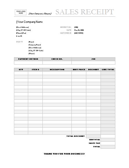Sales receipt (Garamond Gray design)