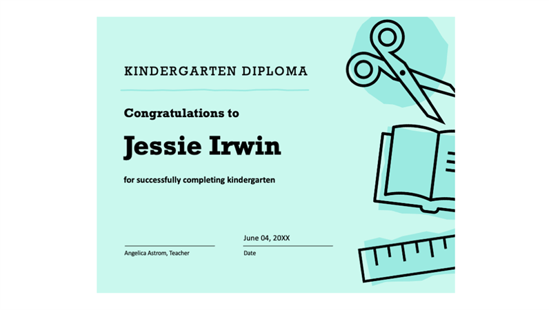kindergarten graduation certificate wording  Kindergarten diploma certificate - Office Templates