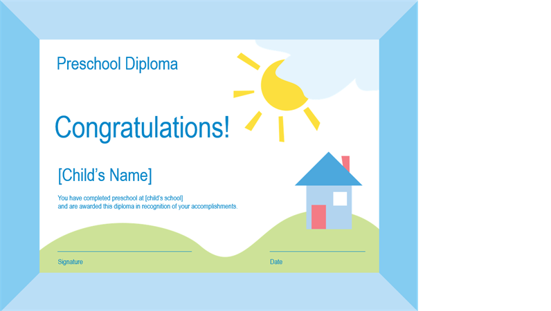 Certificates office preschool diploma yelopaper