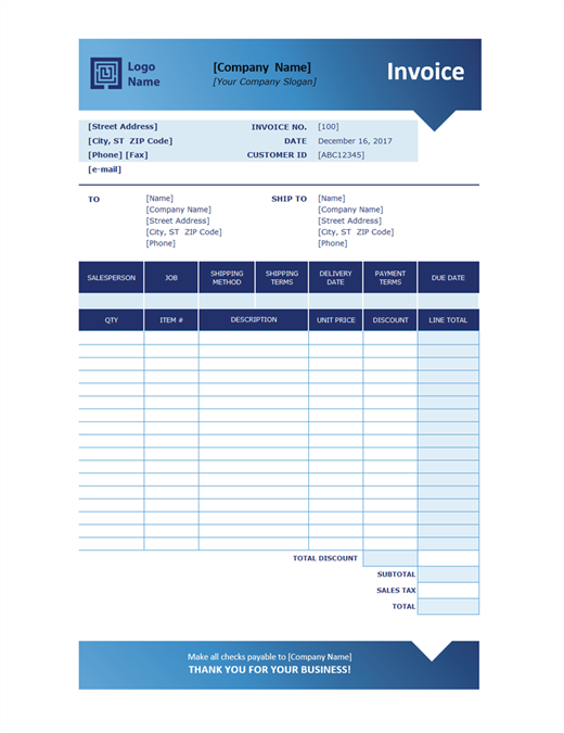 sales invoice blue gradient design - Template For Invoice