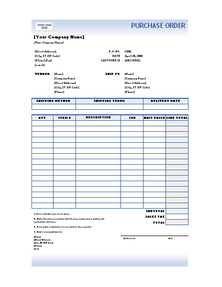 Purchase order (Blue Gradient design)