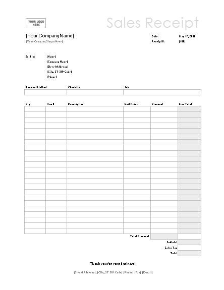 Sales receipt (Simple Lines design)