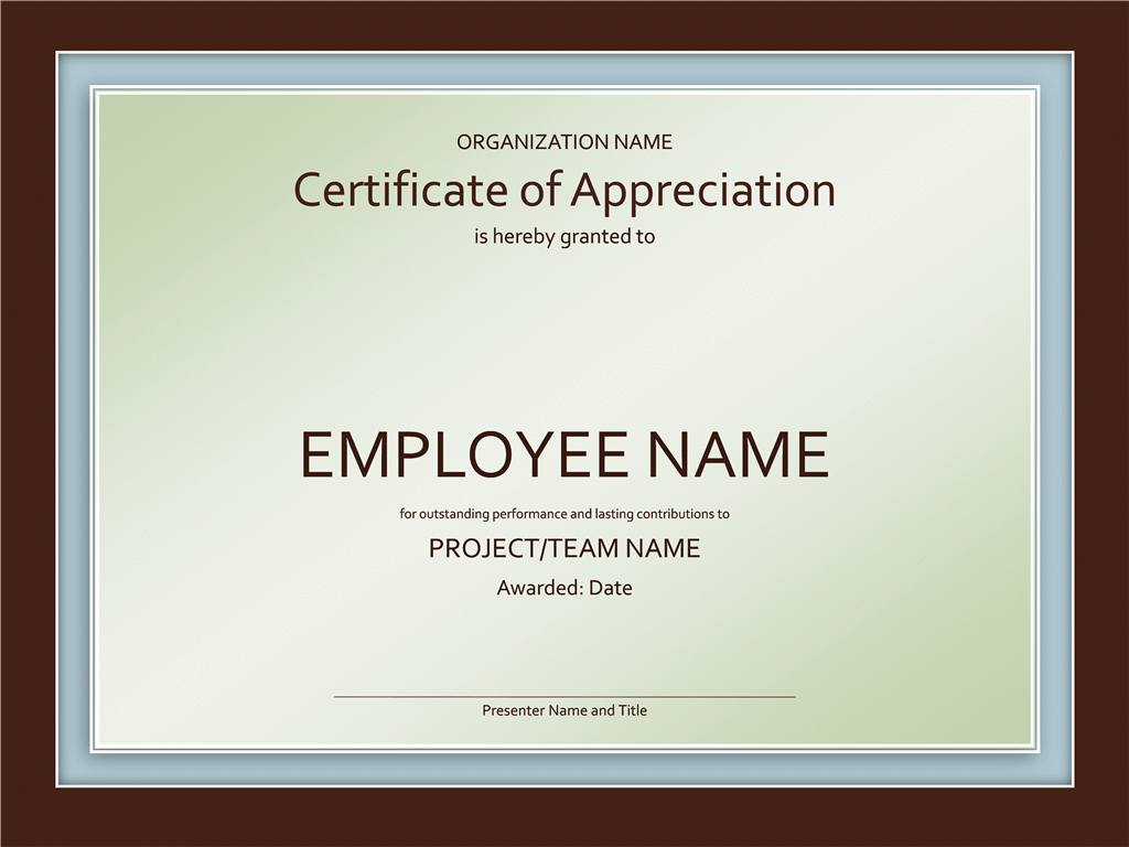 Certificate Of Appreciation Within Free Certificate Template
