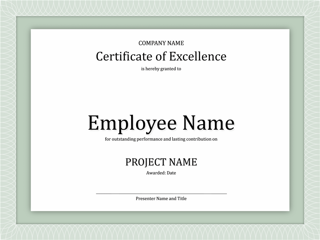 Certificates Office – Certificate of Excellence Template Word