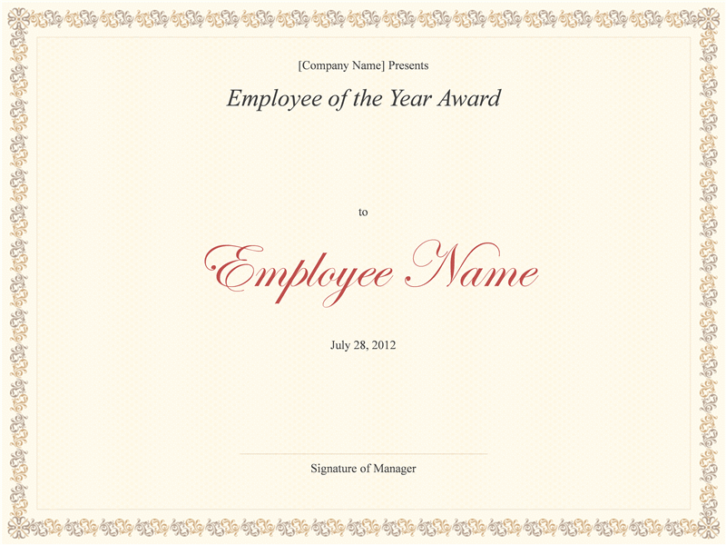 Employee of the Year award - Office Templates