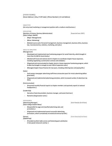 Resume For Recent College Graduate  Resume For College Graduate